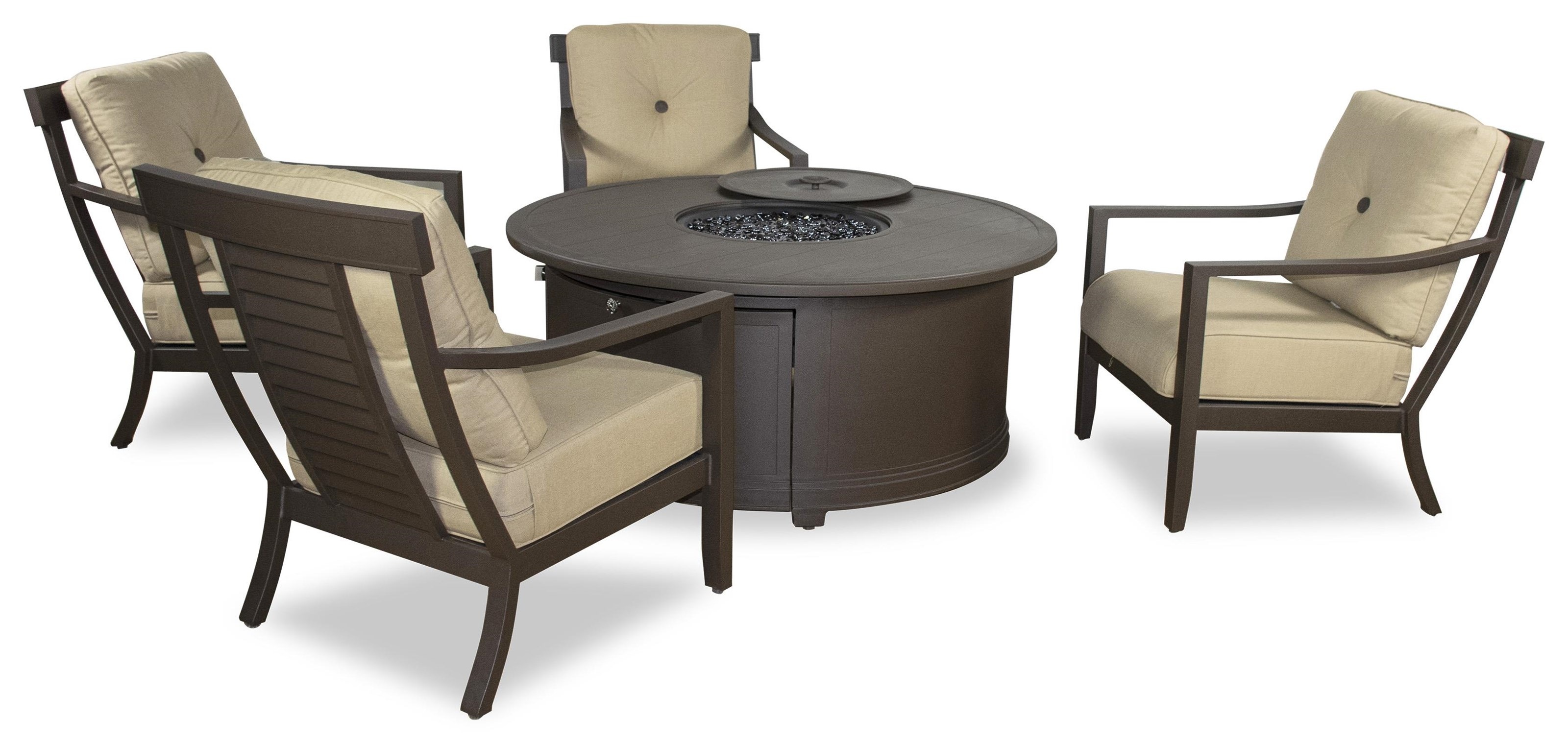 54 in. Firepit and 4 Lounge Chairs