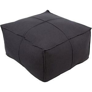 Surya Solid Linen 24 x 24 x 13 Cube Pouf