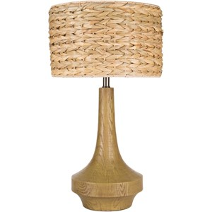 Antiqued Wood Tone Contemporary Table Lamp