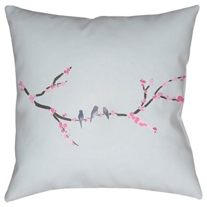 Surya Cherry Blossoms 20 x 20 x 4 Polyester Throw Pillow