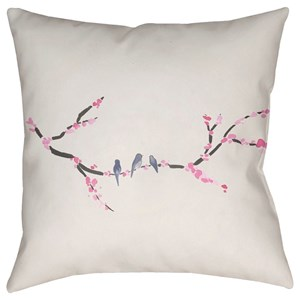 Surya Cherry Blossoms 18 x 18 x 4 Polyester Throw Pillow