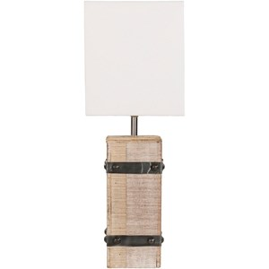 White Washed Rustic Table Lamp