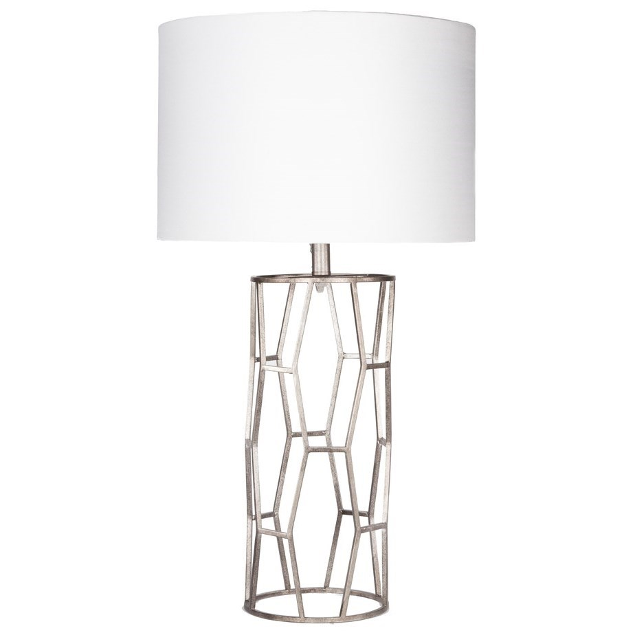 Antiqued Silvertone Glam Table Lamp