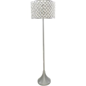 Brushed Silvertone Glam Floor Lamp