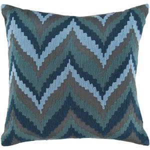 Surya Ikat Chevron 22 x 22 x 5 Down Throw Pillow