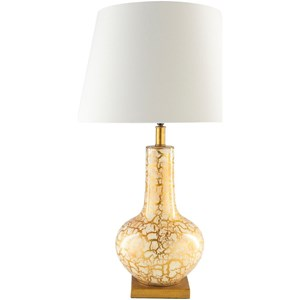 Surya Longo Cream with Gold Foil Rustic Table Lamp