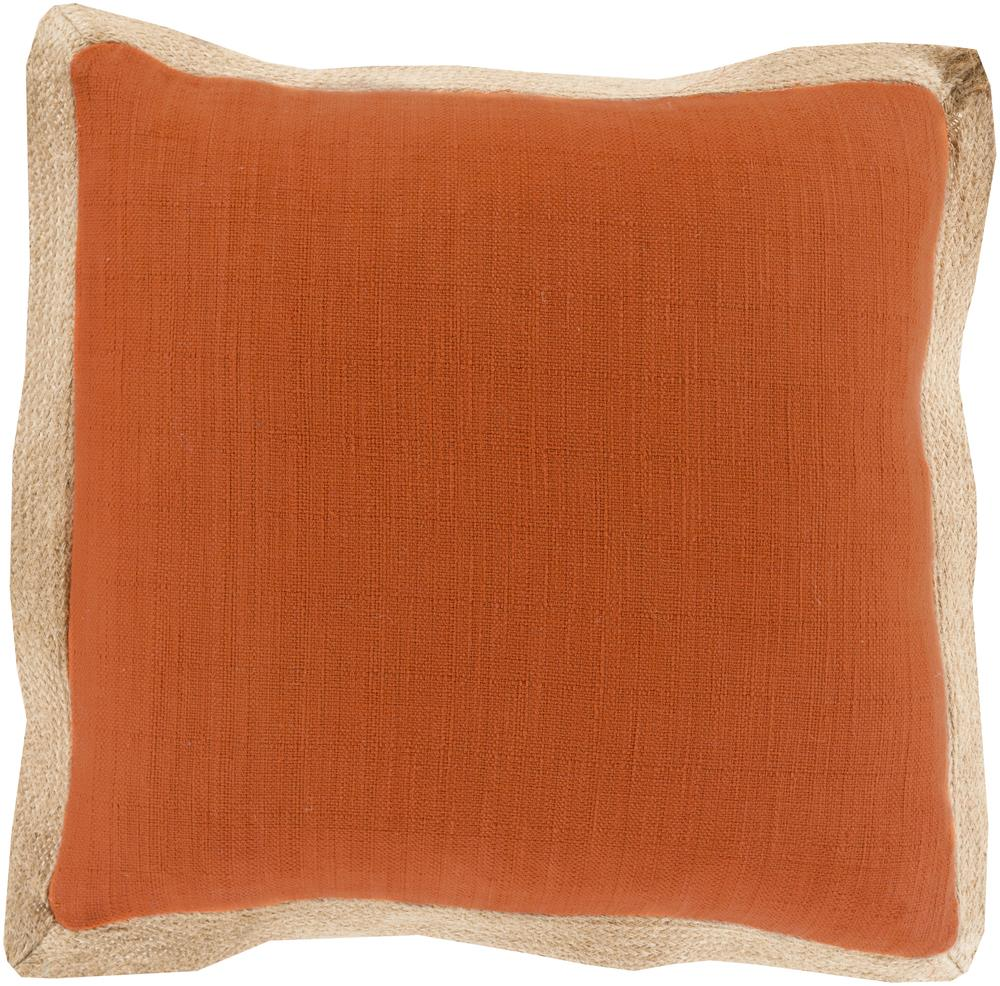 "Surya Pillows 20"" x 20"" Jute Flange Pillow - Item Number: JF004-2020P"