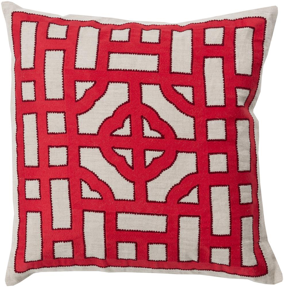 "Surya Pillows 22"" x 22"" Chinese Gate Pillow - Item Number: LD049-2222P"