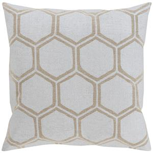 "Surya Rugs Pillows 22"" x 22"" Metallic Stamped Pillow"