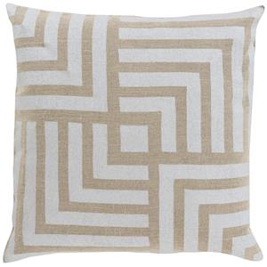 """Surya Rugs Pillows 22"""" x 22"""" Metallic Stamped Pillow"""