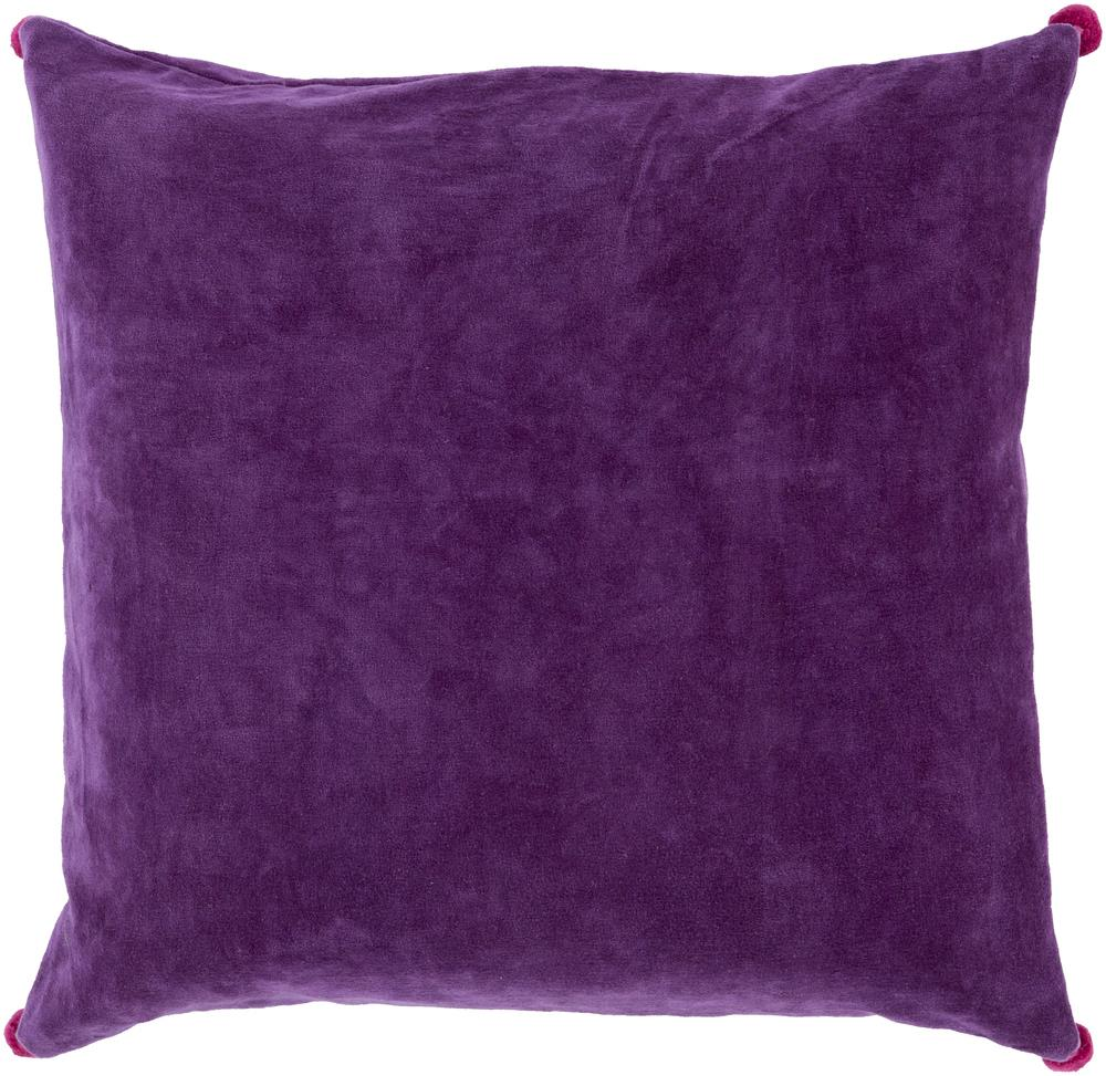 "Surya Pillows 18"" x 18"" Velvet Poms Pillow - Item Number: VP002-1818P"