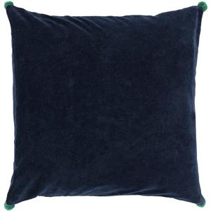 "Surya Rugs Pillows 22"" x 22"" Velvet Poms Pillow"