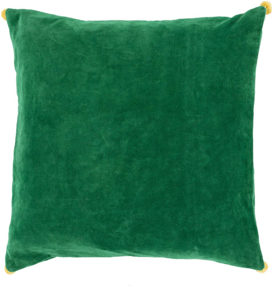 "Surya Pillows 18"" x 18"" Velvet Poms Pillow - Item Number: VP006-1818P"