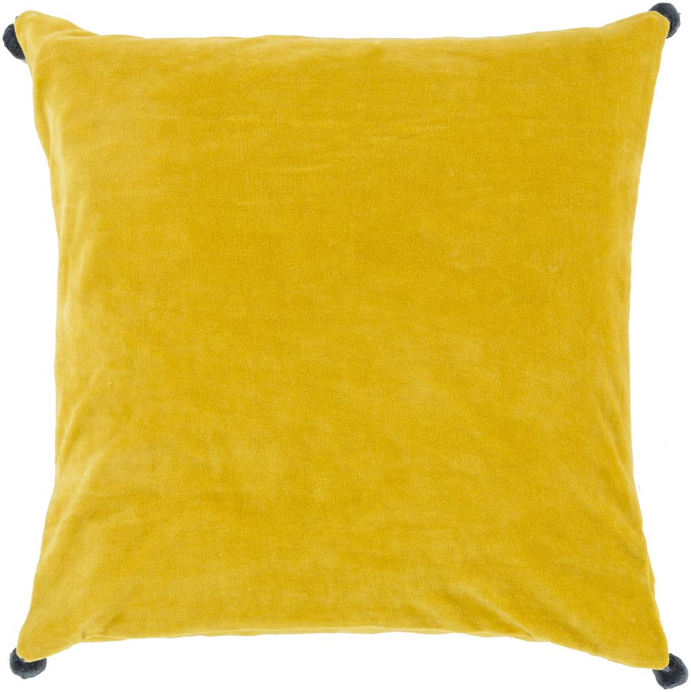 "Surya Pillows 22"" x 22"" Velvet Poms Pillow - Item Number: VP007-2222P"