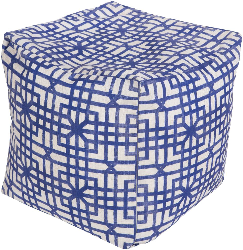 Surya Rugs Poufs Lattice Marine Outdoor Pouf - Item Number: POUF-285