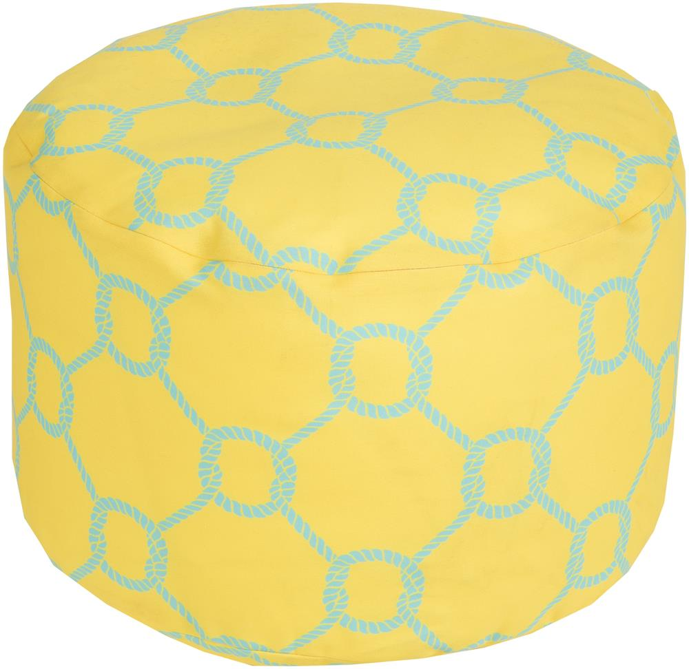Surya Poufs Rope Trellis Lemon Outdoor Pouf - Item Number: POUF-298