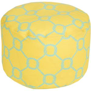 Surya Poufs Rope Trellis Lemon Outdoor Pouf