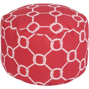 Rope Trellis Crimson Outdoor Pouf
