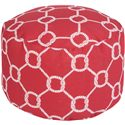 Surya Poufs Rope Trellis Crimson Outdoor Pouf - Item Number: POUF-301