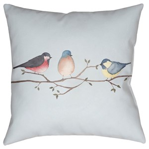 Surya Three Birds 18 X 18 X 4 Polyester Throw Pillow