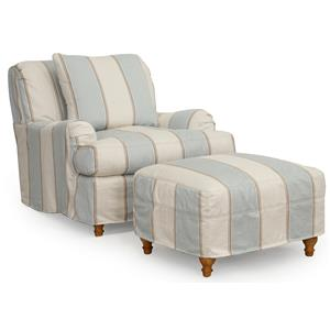 Synergy Home Furnishings 1164 Slipcovered Chair and Ottoman Combination