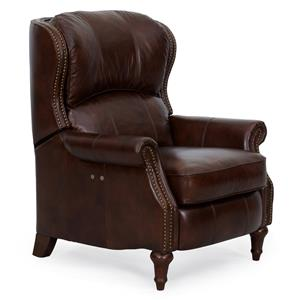 1270 Traditional Style Luxe Power Recliner with Exposed Wood Turned Legs by Synergy Home Furnishings