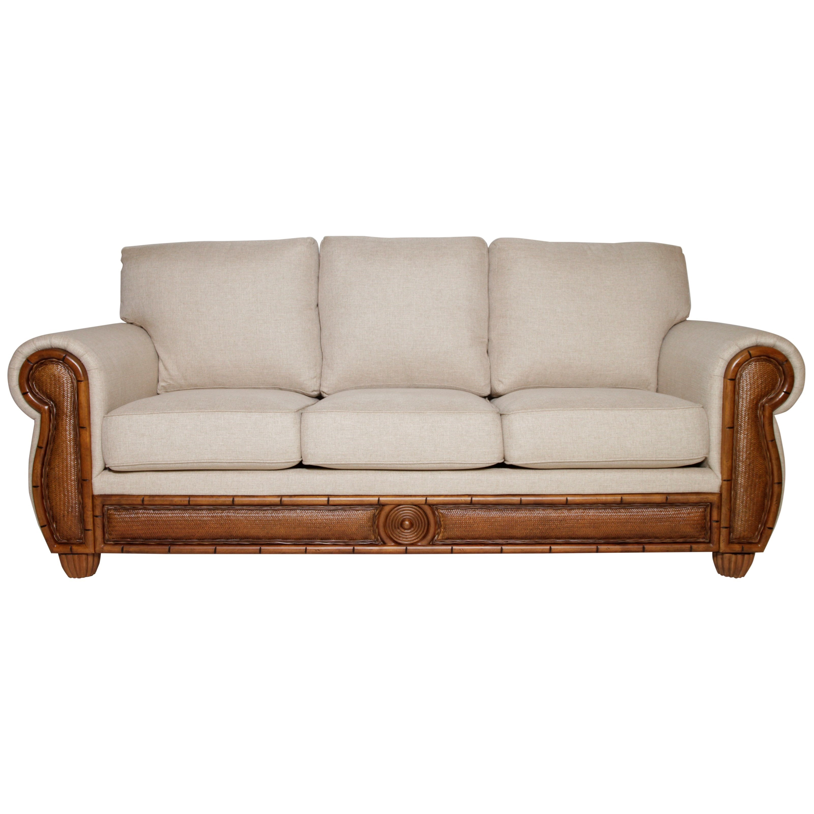 Sofa with Woven Rattan Detail