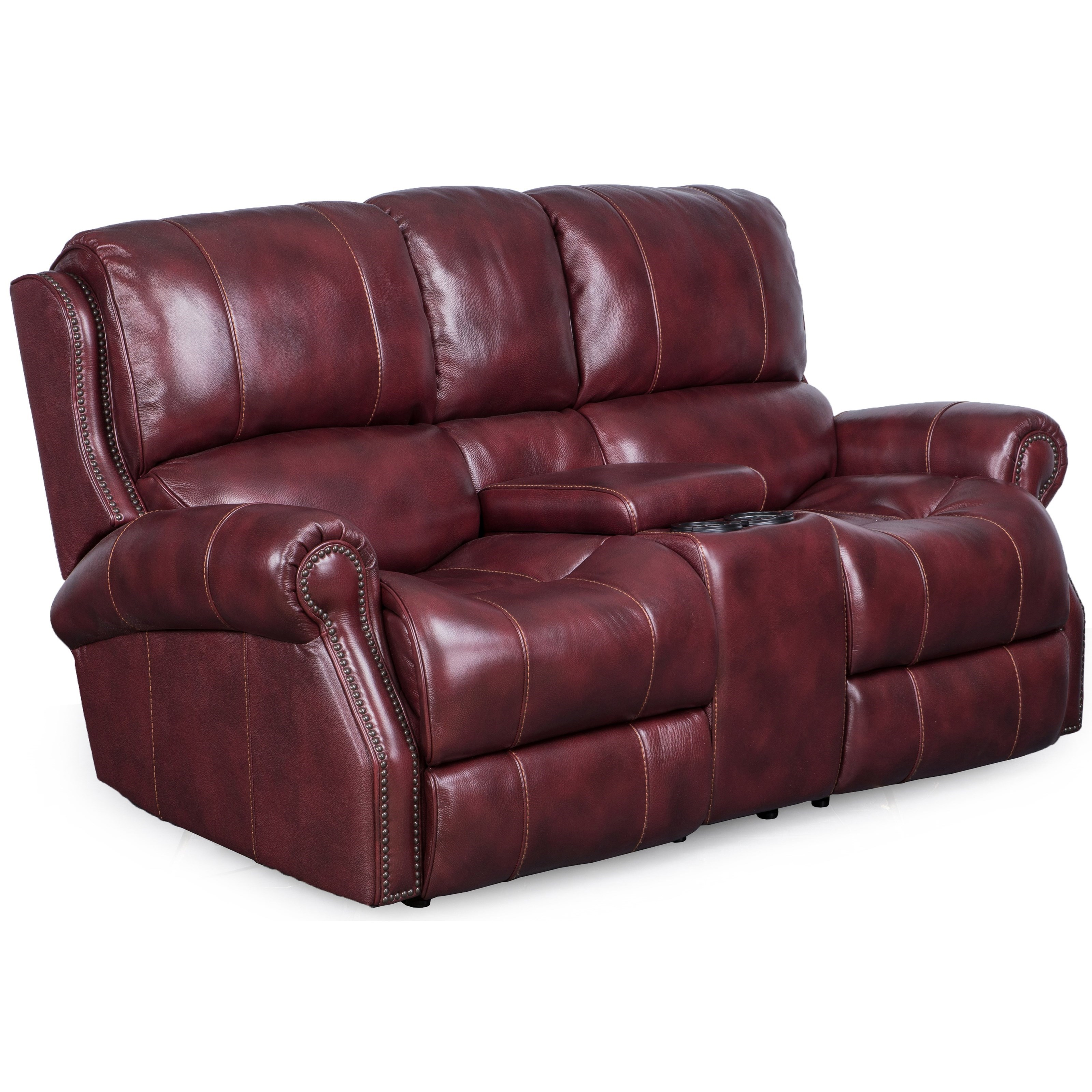Synergy Home Furnishings Manor Gliding Loveseat with Console - Item Number: 1346-68-BriarwoodMerlot