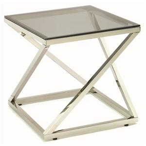 Tag Furniture Gramercy Stainless Steel End Table with Coated Glass Top
