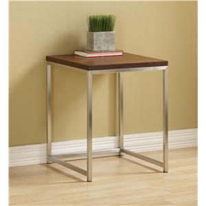 Tag Furniture Ogden Thin Frame Stainless Steel and Wood End Table