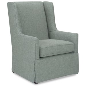 Transitional Wing Back Chair with Skirt Base