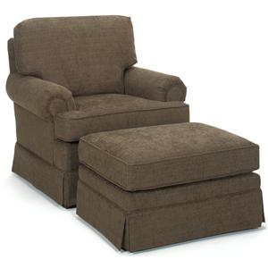 Temple Furniture America Upholstered Chair & Ottoman
