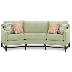 Casual Conversation Sofa with Track Arms and Exposed Wood Base