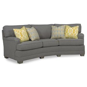 Genial Casual Conversation Sofa With Exposed Wood Block Legs