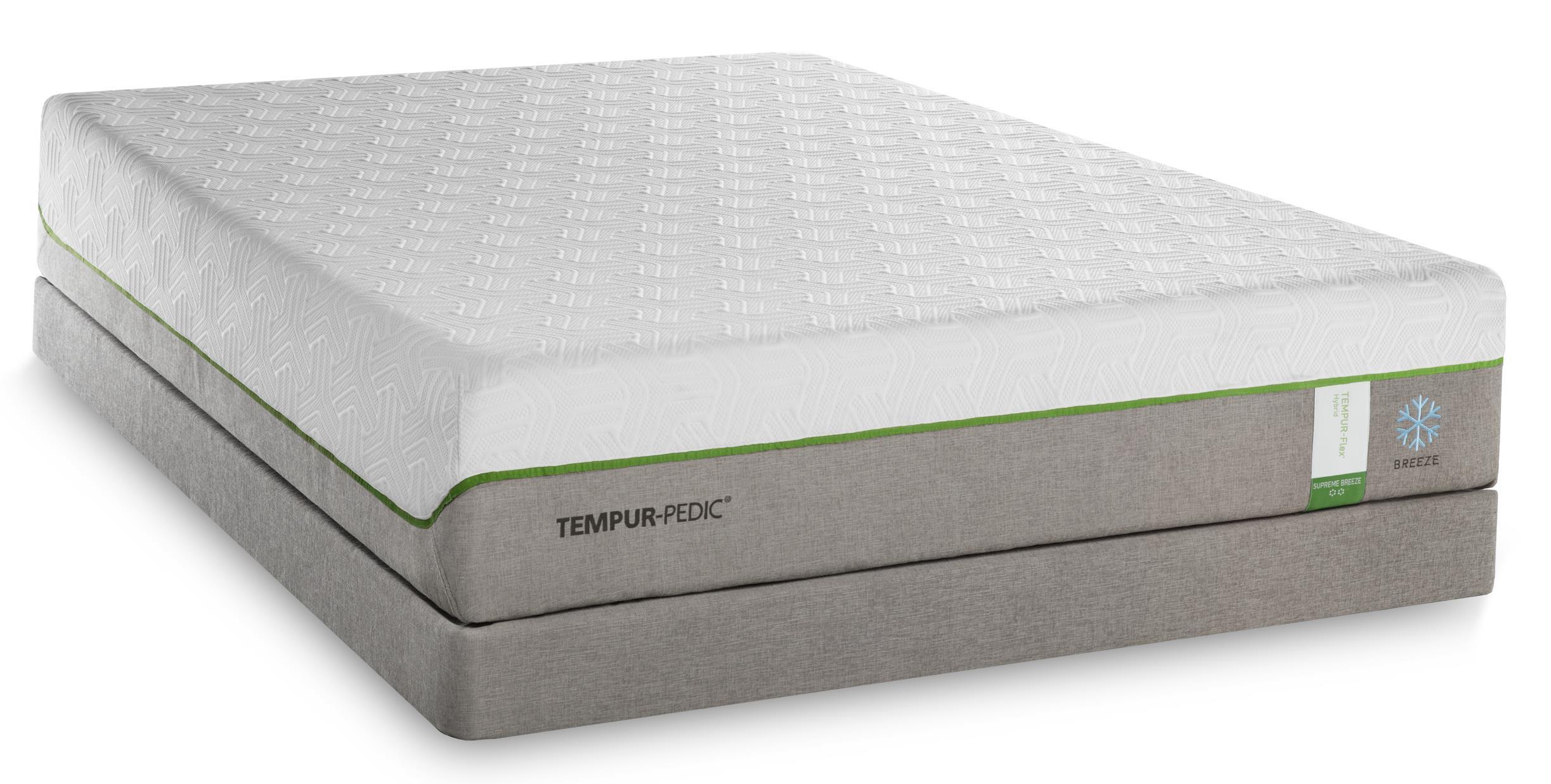 Tempur-Pedic® TEMPUR-Flex Supreme Breeze Queen Medium Plush Mattress Set, Adj - Item Number: 10292250+25287150