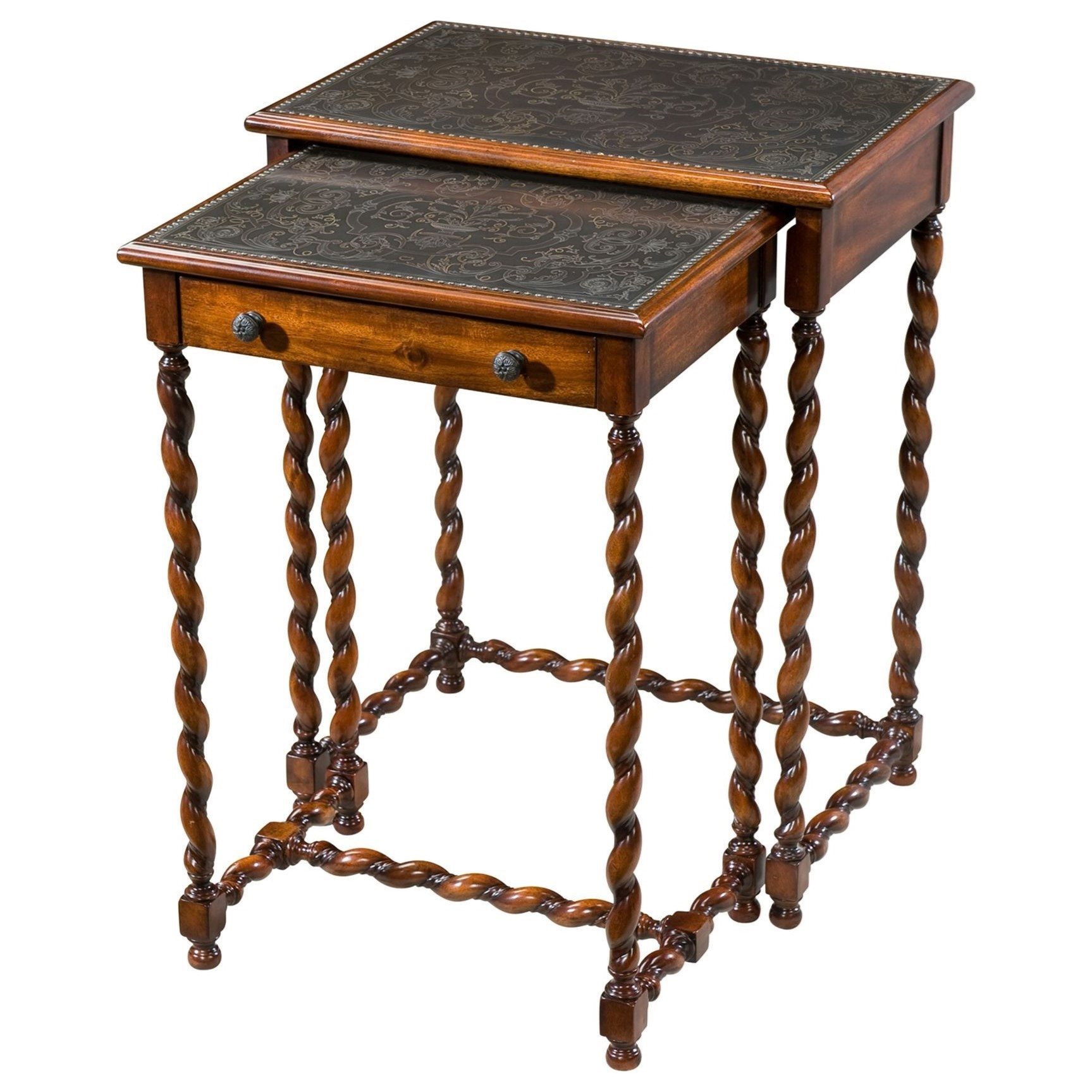 Armoury Lightly Engraved Tables by Theodore Alexander at Sprintz Furniture