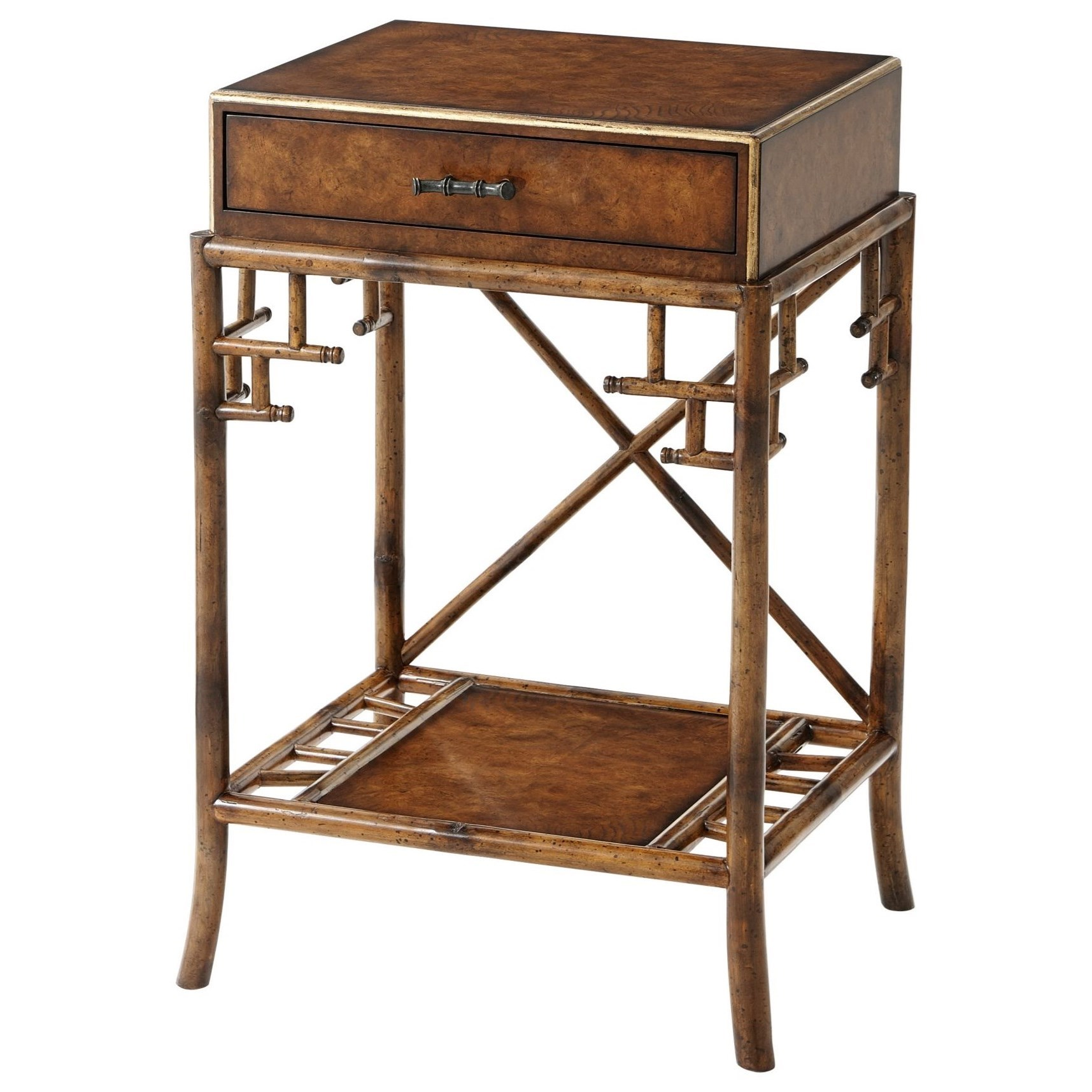 Theodore Alexander Indochine Gilt Burl Accents Lamp Table With Faux Bamboo Details Sprintz Furniture End Tables