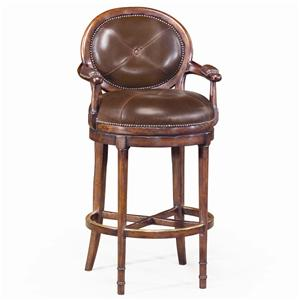 Theodore Alexander Seating Leather Oval Back Barolo Bar Chair