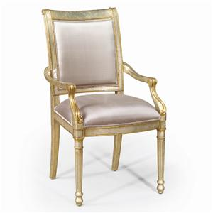 Theodore Alexander Seating Silvered and Gilt Eglomise Arm Chair