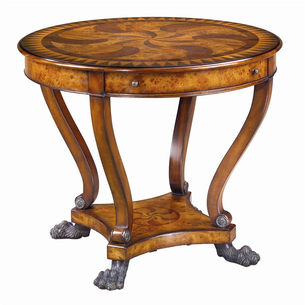 Theodore Alexander Tables Round Marquetry Inlaid End Table   Item Number:  5005 223