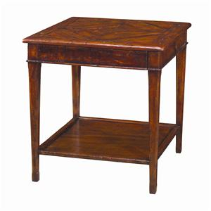 Square Antiqued Wood End Table