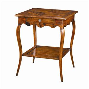 Square Antique Wood Bedside Table