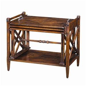 Antiqued Wood Parquetry Table Nest