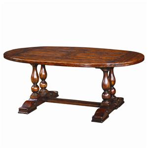Antiqued Wood Oval Dining Table