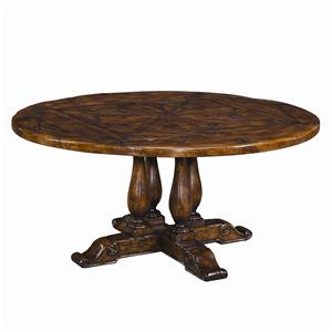 Circular Antiqued Wood Dining Table