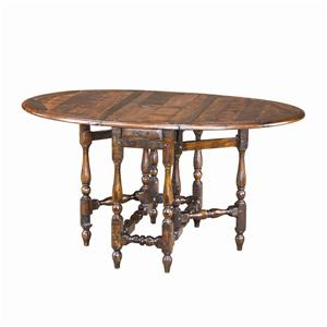 Oval Antiqued Wood Dining Table