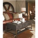 Thomasville® American Anthem Leather Coffee Table w/ Woven Wire Shelf - Shown in Room Setting