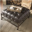 Thomasville® American Anthem Leather Ottoman w/ Woven Wire Shelf - Shown in Room Setting