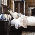 Thomasville® Brompton Hall 3-Drawer Nightstand w/ Black Absolute Granite Top - Shown with Bed