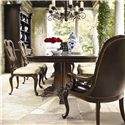 Thomasville® Brompton Hall Traditional Side Chair with Splat Back - Shown with Pedestal Dining Table and Upholstered Arm Chair